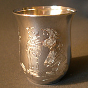"""SOLD German """"835"""" Silver """"Hansel & Gretel Characters"""" Child's Tumbler"""