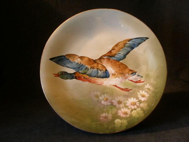 "Blakeman & Henderson Limoges Hand Painted ""Flying Mallard Drake""  Charger"