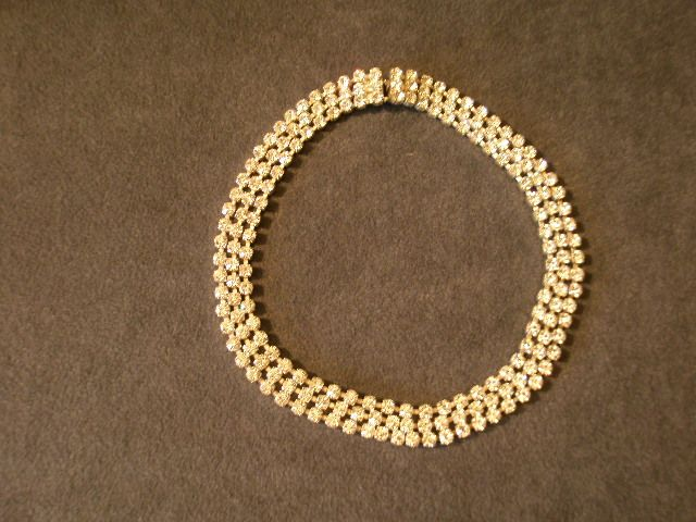Czechoslovakia Triple Row Diamond Rhinestone Collar/Choker Necklace