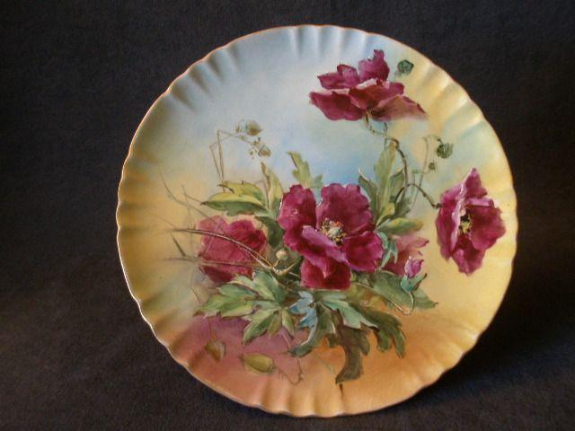 American Willets Belleek Hand-Painted Plate w/Purple Poppy Decoration