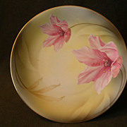 R.S.Germany (Green Mark) Cabinet Plate w/PInk Lilies Floral Motif