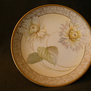 R.S.Germany (Green Mark) Cabinet Plate w/White Chrysanthemum Floral Motif