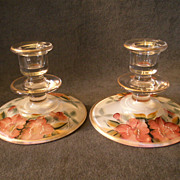 """Depression Era Clear Glass Pair of Candle Holders  with Hand-Painted """"Azalea"""" Floral"""