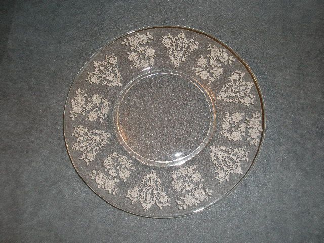 """Set of 6 - Tiffin """"Cherokee Rose"""" Pattern Luncheon Plates"""
