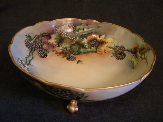 AKD Limoges Hand-Painted, Footed Serving Bowl w/Blackberries & Floral Motif