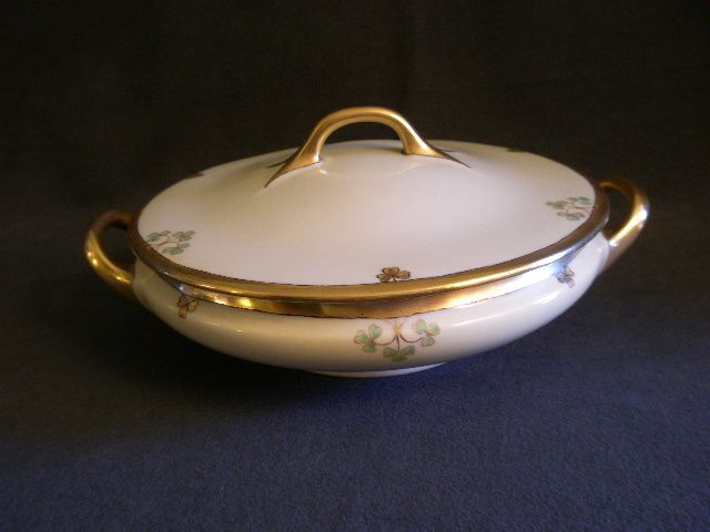 """""""Shamrock Pattern"""" Hand Painted Porcelain Round Covered Vegetable Tureen"""
