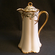 "Charles Haviland & Co. Limoges ""Green & Gold Floral"" Chocolate Pot - Schleiger H1102"