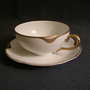 """Set of 4 - Charles Haviland & Co. Limoges """"Silver Anniversary"""" Cups & Saucers - Schl"""