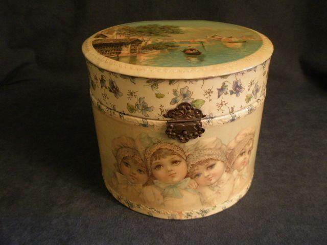 Victorian Celluloid Gentlemen's Collar Box w/Portrait, Floral & Scenic Motif