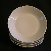 """Charles Haviland & Co. Limoges """"Ranson/White"""" -  Set of 4 - Coup-Style Soup Bowls"""
