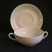 "Charles Haviland & Co. Limoges ""Smooth Blank/White"" - Set of 2 -  Cream Soups w/Sauc"