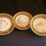 Set of 3 - Hand Painted Gold Floral & Insect Motif Plates w/Reticulated Border