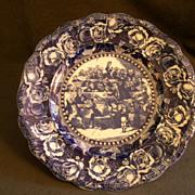 "Ridgway Flow Blue Plate ""Bardell V Pickwick"""