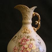 A. Stellmacher Habsbourgware  H.P. Porcelain Ewer w/Wild Roses Motif