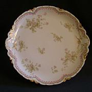Charles Haviland & Co. Limoges Charger Plate w/Delicate Pink Floral & Bellflower Border