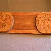 Arts & Crafts Era Pyrographic Folding/Expandable Book Rack  w/Native American Image & Motto Mo