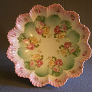 M Z Austria Porcelain Fluted Serving Bowl w/Transfer Roses Decoration