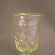 Vaseline (Uranium) Glass Pedestal Spoon Holder w/Inverted Diamond Pattern