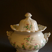 Early English Gothic Style Covered Sugar Bowl w/Purple & Green Decoration