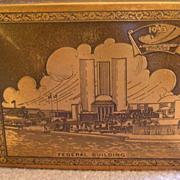 1933 Century of Progress Stamp/Trinket Wood & Metal Box