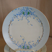 "Set of 4 Luken Studio H.P. China ""Forget-Me-Not"" Pattern Luncheon Plates"