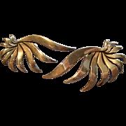 """Mexican Mid Century Sterling Silver """"Stylized Flower"""" Screw-Back Earrings"""