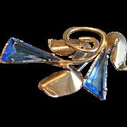 Art Deco Sterling Silver & Faux Sapphire Stylized Floral Brooch