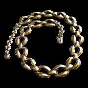 Vintage Sterling Silver Oval LInk Choker Necklace w/Extender