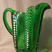 "Emerald Green ""Paneled Herringbone"" Pattern Glass Pitcher"