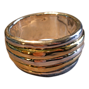 David Varsano Modernist Electroform Sterling Silver & Gold Vermeil Bangle Bracelet