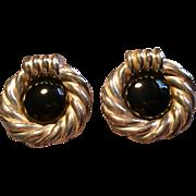 Israel Modernist Electroform Sterling Silver & Black Enamel Clip Earrings