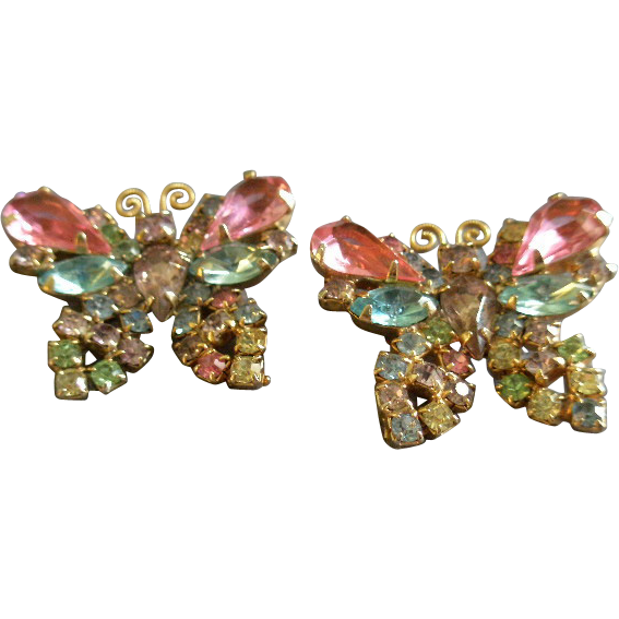 """""""Weiss"""" Pair of Gold-Tone & Pastel Rhinestone Figural Butterfly Brooches/Scatter Pins"""
