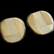 """Celia Sebiri"" Vintage Mother-of-Pearl & Faux Ivory/Bone Inlay Clip-Style Earrings"