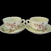 CFH/GDM Limoges Set of 2 Cups & Saucers w/Passion Flower Blossoms & Vines Motif