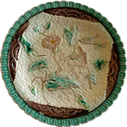 SOLD Victorian Majolica Plate w/Basket-weave & Morning Glory Floral Motif