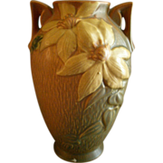 "Roseville Pottery ""Clematis"" Vase w/Handles - #110-9"