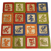 Set of 16 Wooden Walt Disney 1930's ABC Blocks