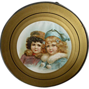 Antique Victorian Flue Cover Featuring Two Darling Winter Clad Young Girls