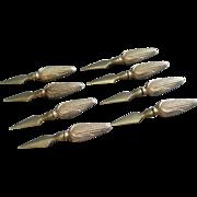 """Set of 8 Sterling Silver Figural Corn Cob Skewers - """"Ear of Corn"""" Handle"""