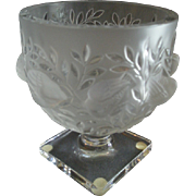 "Vintage Lalique France ""Elizabeth' Pattern Pedestal Vase/Bowl - Marc Lalique Design"