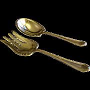 "Dominick & Haff Sterling Silver ""Queen Anne - Plain"" Pattern 2-Piece Salad Set"