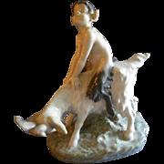 "Royal Copenhagen Figurine ""Faun Riding A Goat"" #737, Sculptured by Christian Thomsen"