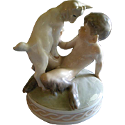 """Royal Copenhagen Figurine """"Faun With A Goat"""" #498, Sculptured by Christian Thomsen"""
