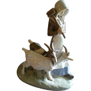 """Royal Copenhagen Large Figurine """"Girl With Goats"""" #694, Sculptured by Christian Thom"""