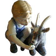 "Royal Copenhagen Figurine ""Boy With A Goat"" #434, Sculptured by Alan Therkelsen"
