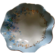 "Luken Studio Hand Painted ""Forget-Me-Not"" Pattern Round Candy/Nut/Relish Dish w/Raised Base"