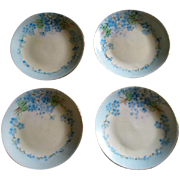 "Luken Studio Hand Painted ""Forget-Me-Not"" Pattern Set of 4 Butter Pats"
