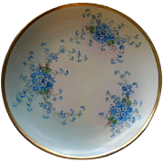 "Luken Studio Hand Painted ""Forget-Me-Not"" Pattern Cabinet Plate"