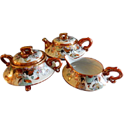Meiji Period Japanese Kutani Porcelain Hand Painted & Gold 3-Pc. Tea Set