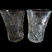 """Set of 2 """"Brilliant"""" Cut Glass Corset-Shape Tumblers"""